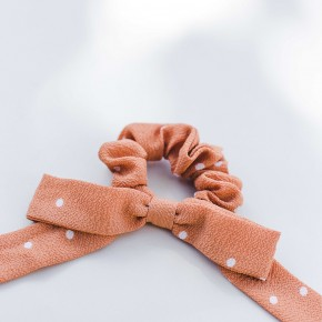 Coral Bow Scrunchie