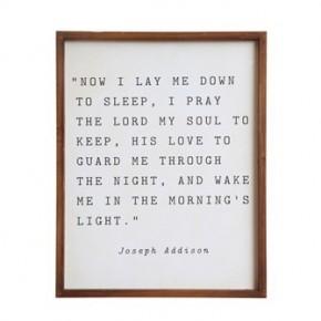 """Now I Lay Me Down To Sleep"" Sign"