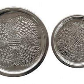 Round Embossed Metal Trays, Silver Finish