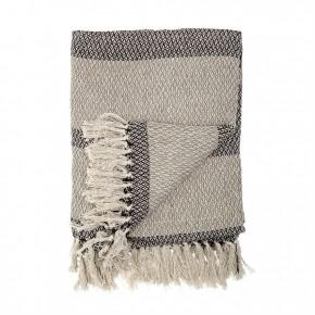 Cotton Blend Knit Throw w/ Fringe & Stripe