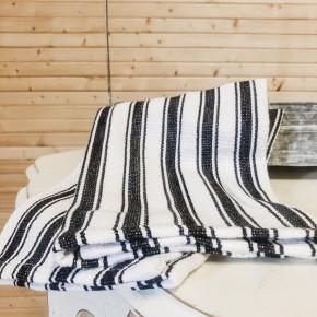Railroad Stripe Kitchen Towel S/3 Black