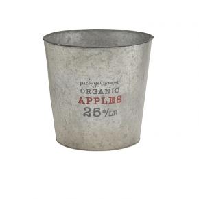 Organic Apples Galvanized Bucket