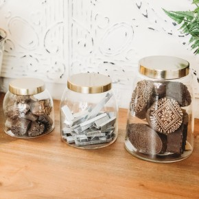 Glass Jars w/ Brass Finish Lid