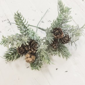 Mini Glitter Grass Pick with Pinecones Set of 2