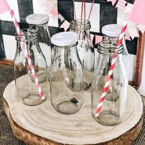 Glass Milk Bottles Set 6