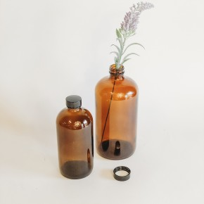 Amber Boston Round Glass Bottle