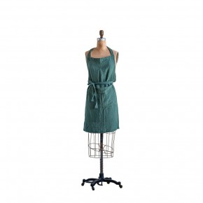 Green Cotton Apron With Pocket