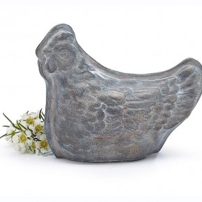 Distressed Silver Sitting Hen