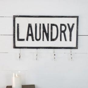 Tin Laundry Hook Sign
