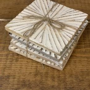 Wood Sunburst Coaster Set of 4