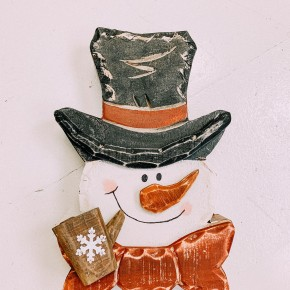 Wood carved Snowman