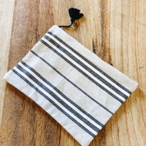 Cotton Pouch w/ Stripes & Tassel