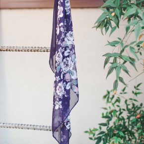 Navy Rose Floral Chiffon Square Scarf