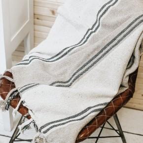 Cotton Throw w/ Stripes & Fringe