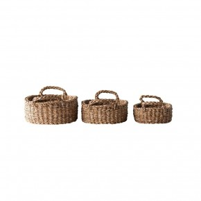 Oval Natural Woven Seagrass Baskets S/3