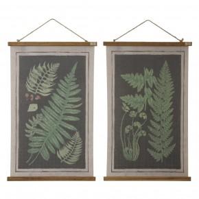 Canvas & Wood Scroll Wall Decor w/ Fern Fronds
