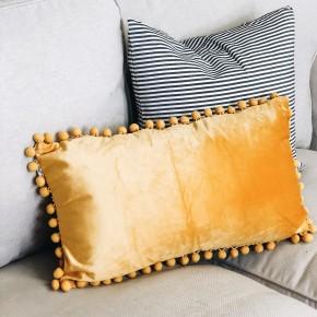 Mustard Pom Pom Lumbar Pillow