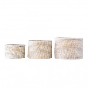 Seagrass Baskets w/ Lid Set of 3
