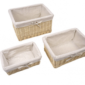 3-piece Willow Basket Set with Natural Fabric Liners