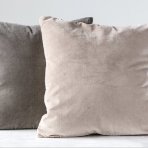 Square Cotton Velvet Front Pillow