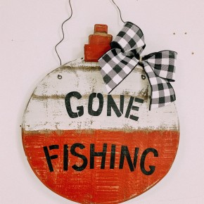 Wood Carved Gone Fishing