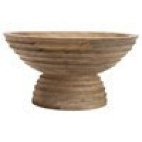 Mango Wood Ridged Footed Bowl