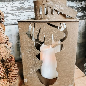 Metal Lantern w/ Deer