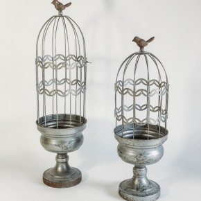 Metal Wire Bird Perch Cloche