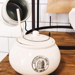 Stoneware Honey Jar w/ Wood Honey Dipper