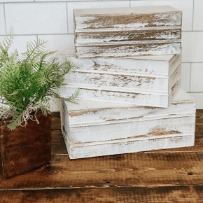 White Wash Crate Set of 3