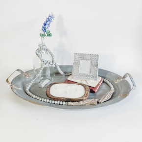 Large Zinc Tray With Handles