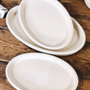Vintage Reproduction Stoneware Plates, Antique White