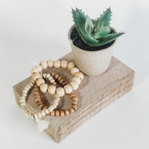 Wood Stretch Caramel Bracelet S/3