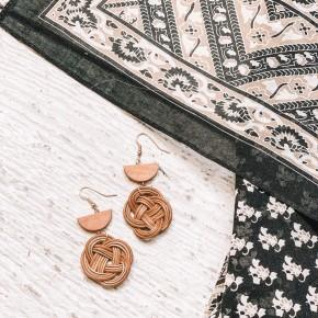 Woven Braid Rattan Earrings