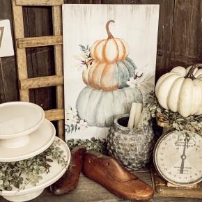 Sage and Cream Pumpkin Sign