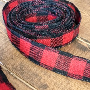 Red Flannel Check Ribbon