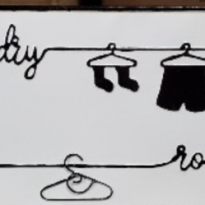 Laundry Sign with Clothes Hangers