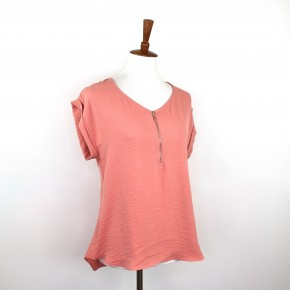Cuffed Sleeve + Zipper Front Blouse in Coral