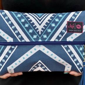 Blue Aztec Makeup Junkie Bags
