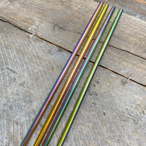 4-Pack of Rainbow Stainless Steel Straws
