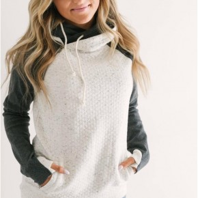 Quilted Double Hooded Sweatshirt