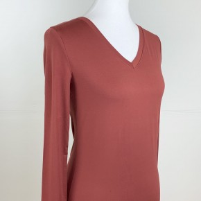 Fitted Layering Long Sleeve V-Neck Tee in Brick