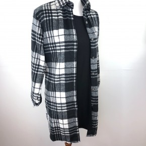 Black + White Lumber Jill Flannel Shirt Jacket