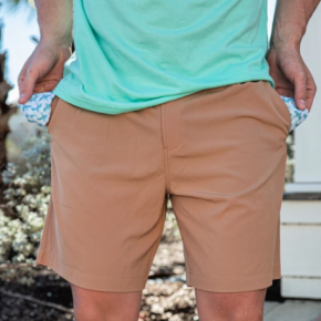 Bulebo Desert Tan Performance Shorts With Flying Duck Pockets