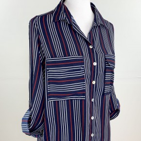 Everyday Chic Navy Striped Button Down Blouse
