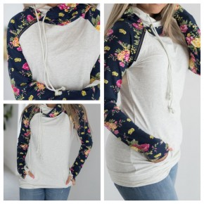 Oatmeal Floral Double Hoodie