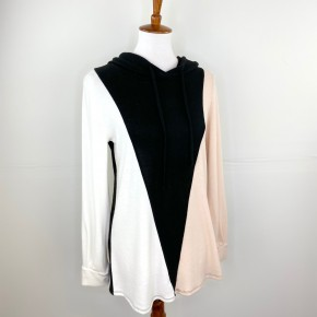 Black + Blush Color Block Hooded Sweater