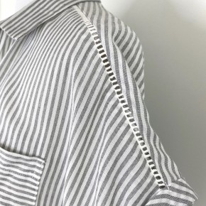 Vertical Striped Button Up Top In Grey