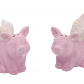 Ceramic Pigs With Wings Salt & Pepper Shakers