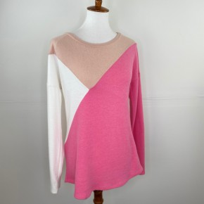 Peach + Pink Color Block Sweater